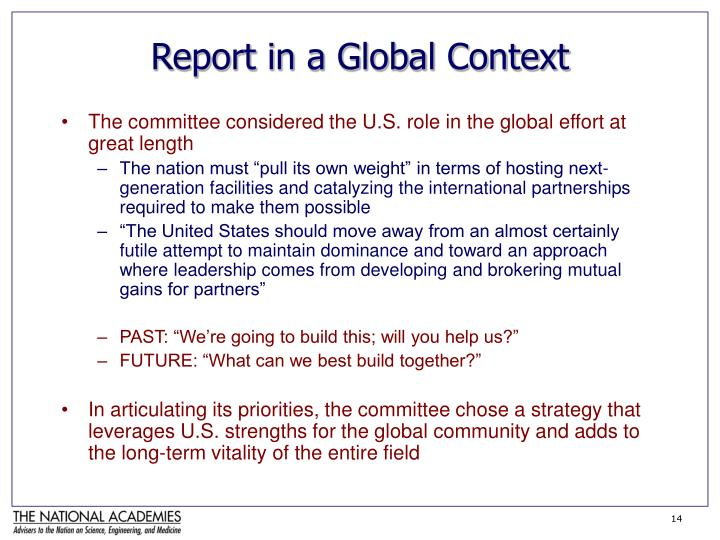 Report in a Global Context