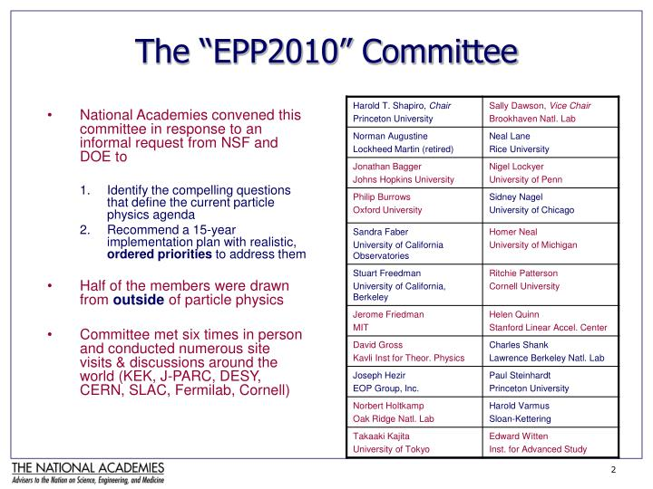 The epp2010 committee