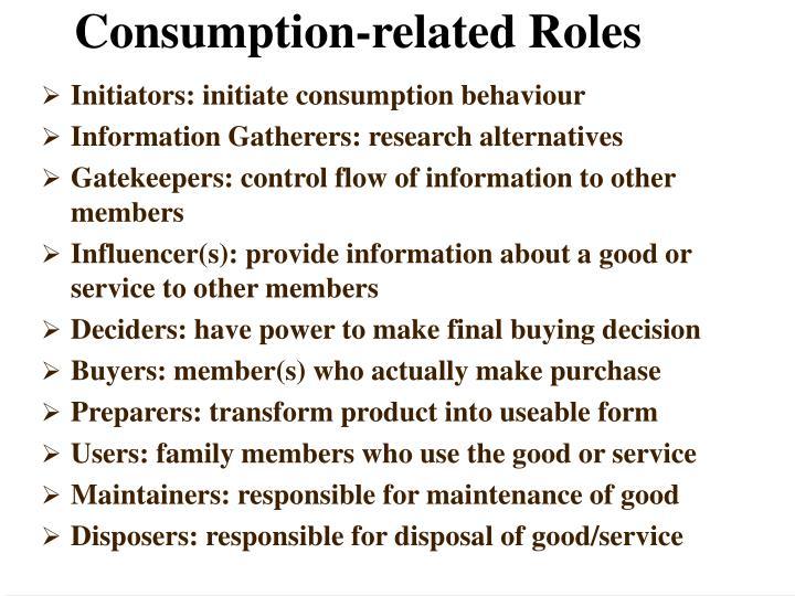 Initiators: initiate consumption behaviour