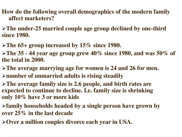 How do the following overall demographics of the modern family affect marketers?