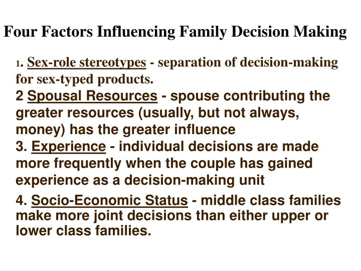 Four Factors Influencing Family Decision Making
