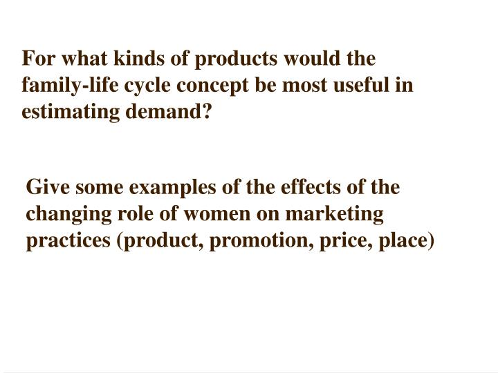 For what kinds of products would the family-life cycle concept be most useful in estimating demand?