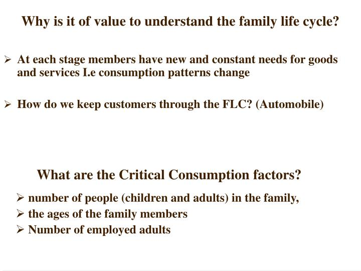 Why is it of value to understand the family life cycle?