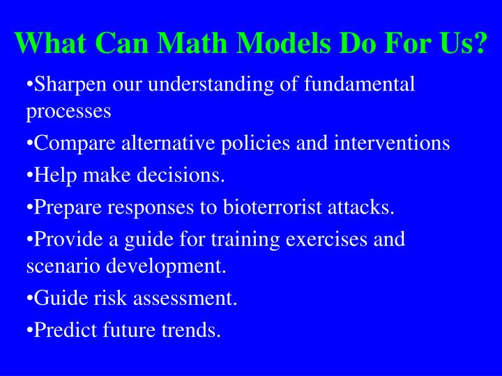 What Can Math Models Do For Us?