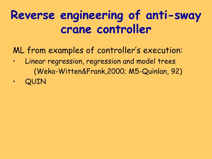 Reverse engineering of anti-sway crane controller