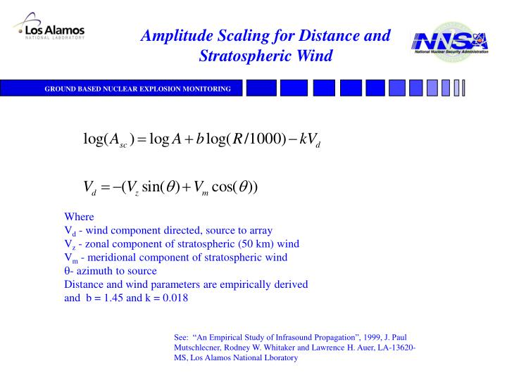 Amplitude Scaling for Distance and Stratospheric Wind