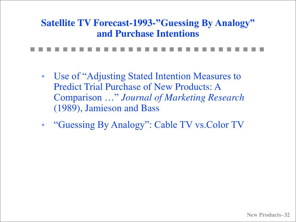 """Satellite TV Forecast-1993-""""Guessing By Analogy"""" and Purchase Intentions"""