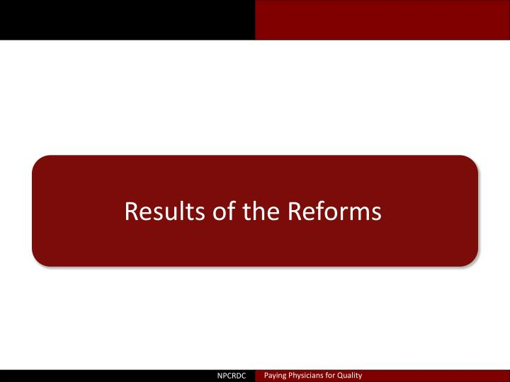 Results of the Reforms