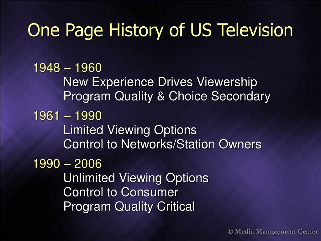 One Page History of US Television