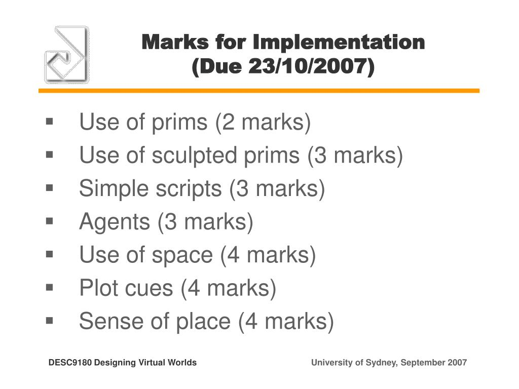 Marks for Implementation