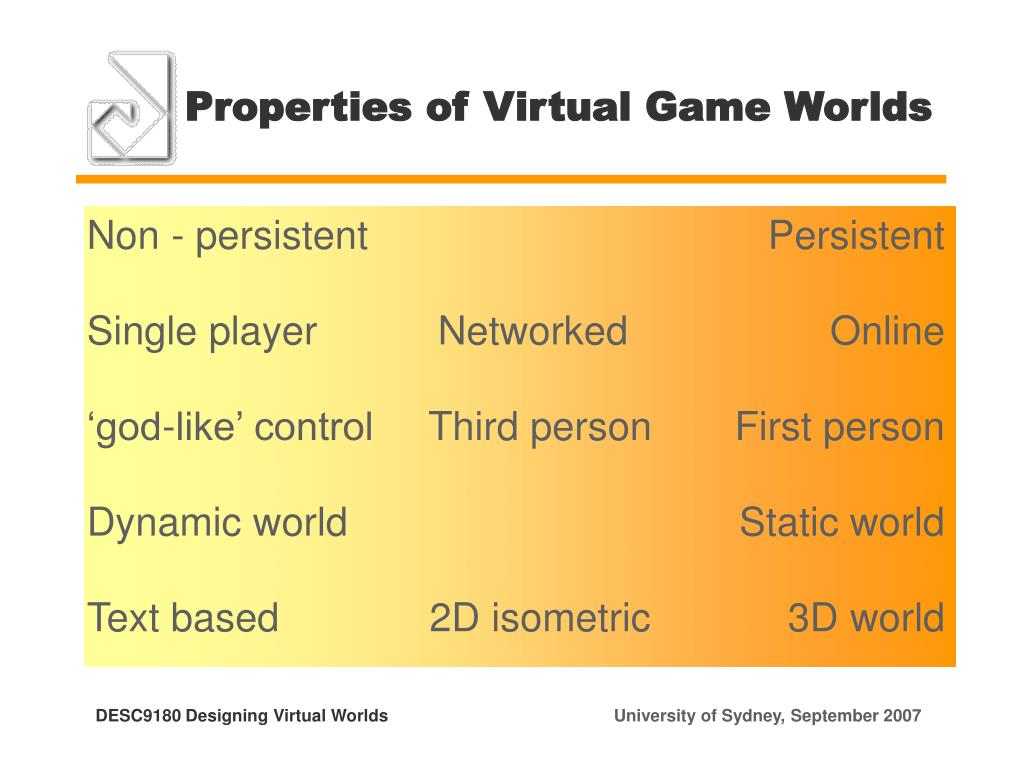 Properties of Virtual Game Worlds