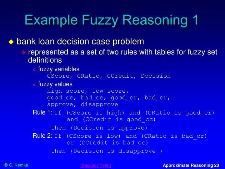 Example Fuzzy Reasoning 1