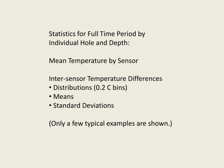 Statistics for Full Time Period by Individual Hole and Depth: