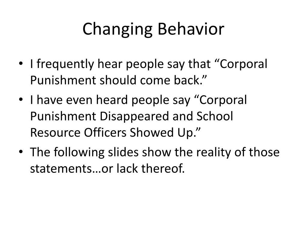 Changing Behavior