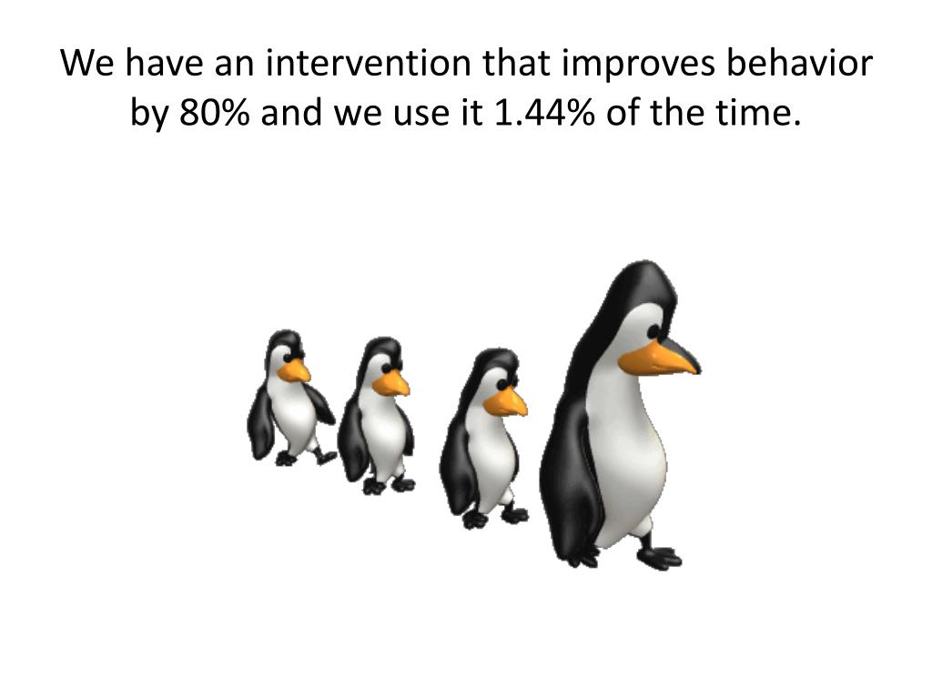 We have an intervention that improves behavior by 80% and we use it 1.44% of the time.