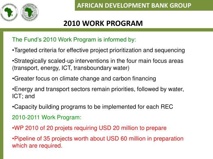 2010 WORK PROGRAM