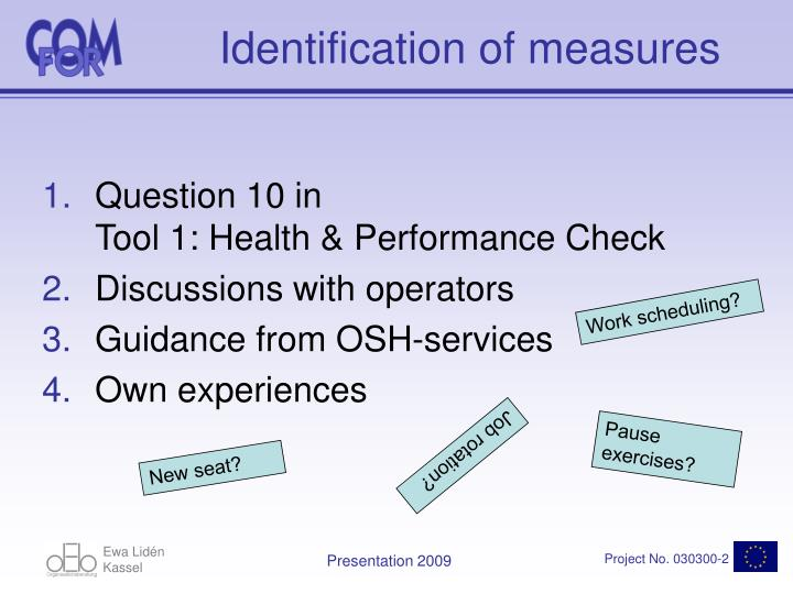 Identification of measures