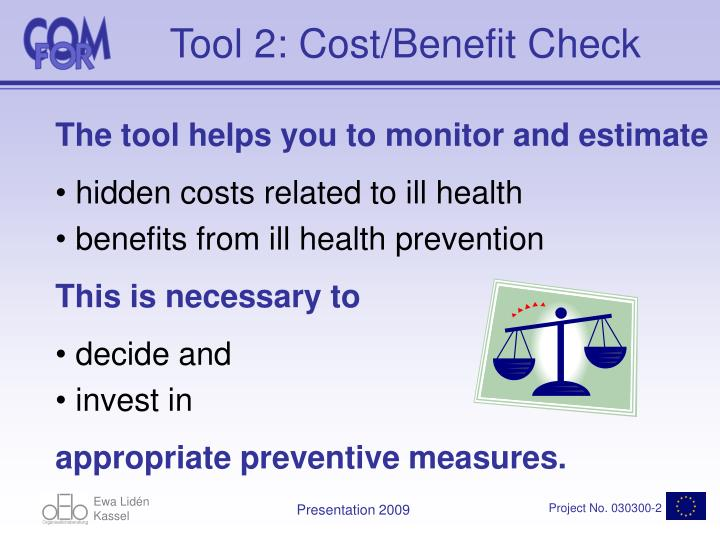Tool 2: Cost/Benefit Check