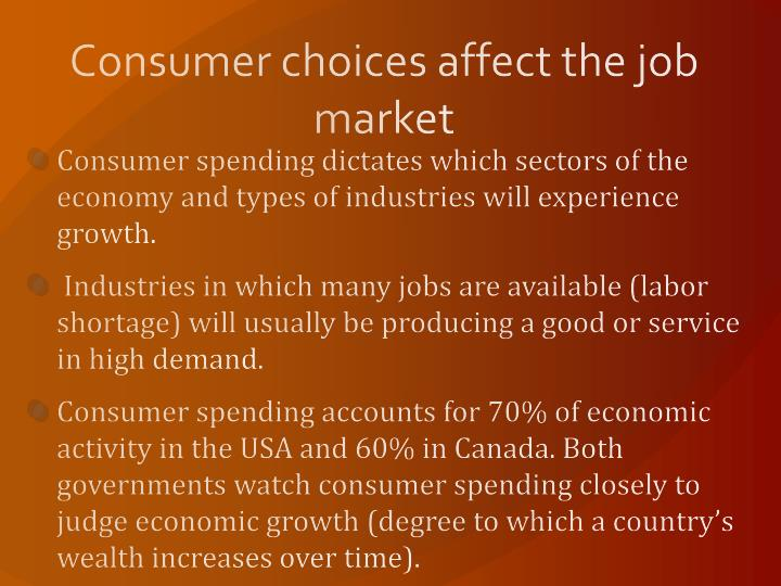 Consumer choices affect the job market