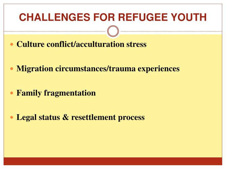 CHALLENGES FOR REFUGEE YOUTH