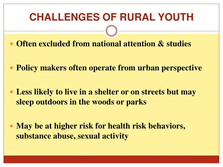 CHALLENGES OF RURAL YOUTH