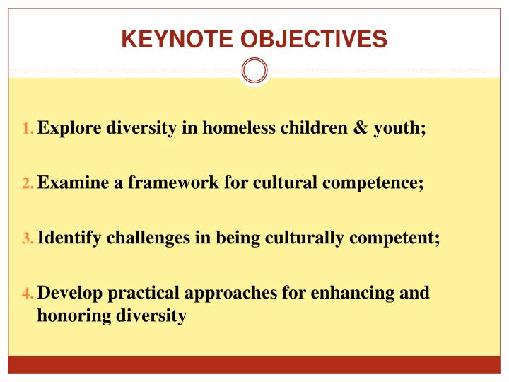 KEYNOTE OBJECTIVES