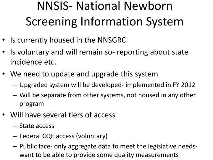 NNSIS- National Newborn Screening Information System