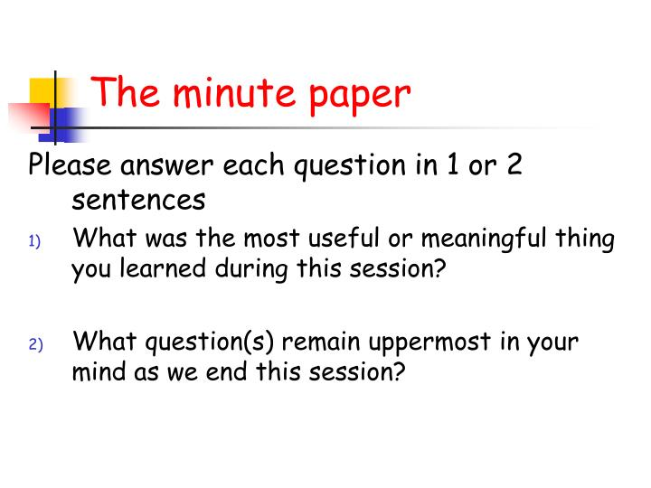 The minute paper