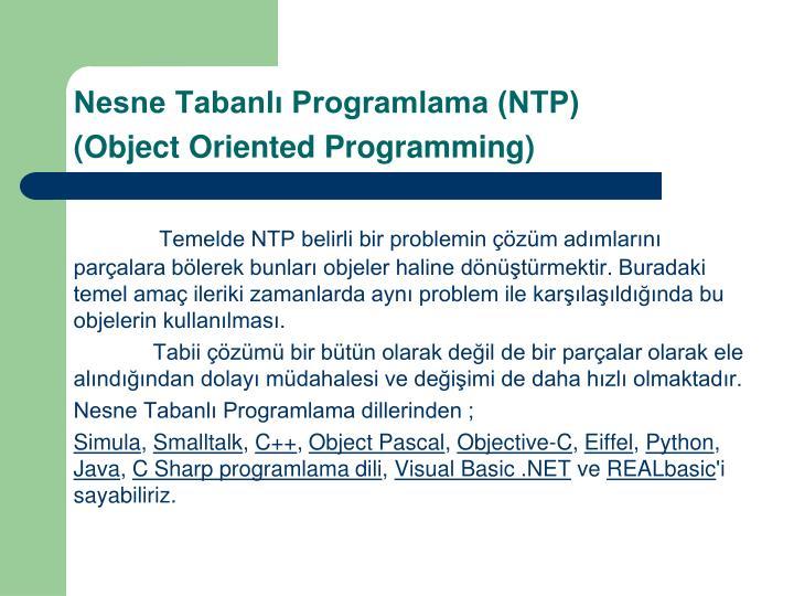 Nesne Tabanlı Programlama (NTP)