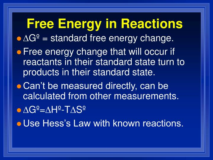 Free Energy in Reactions