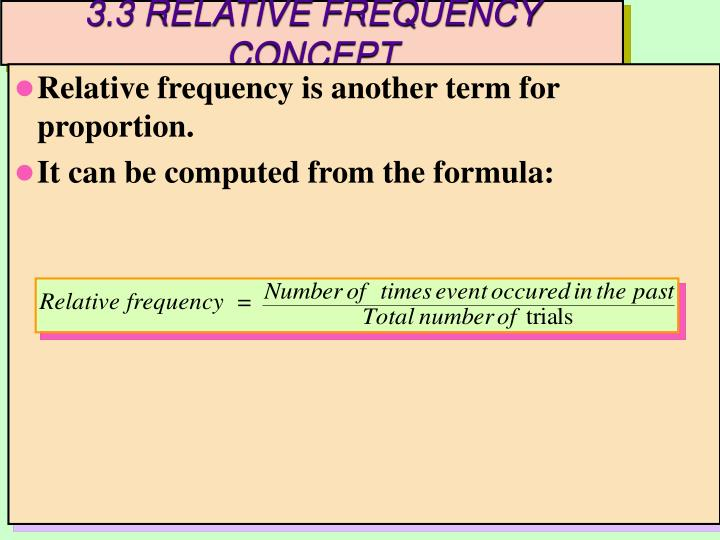 3.3 RELATIVE FREQUENCY CONCEPT