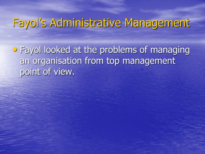 Fayol's Administrative Management