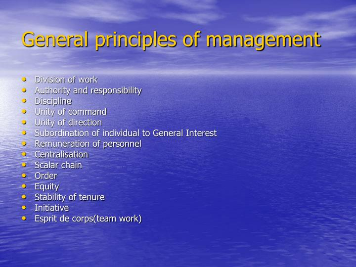 General principles of management