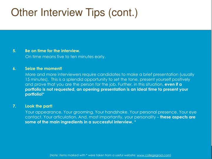Other Interview Tips (cont.)
