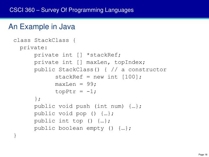 An Example in Java