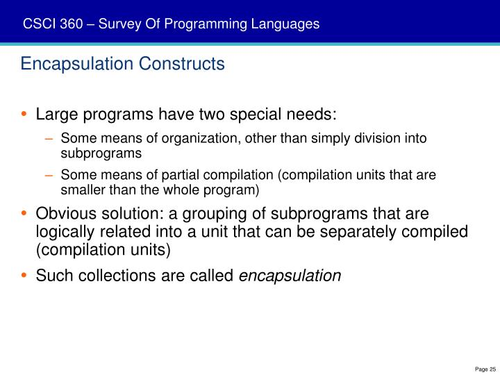 Encapsulation Constructs