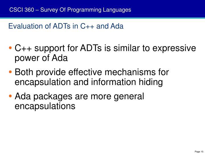 Evaluation of ADTs in C++ and Ada