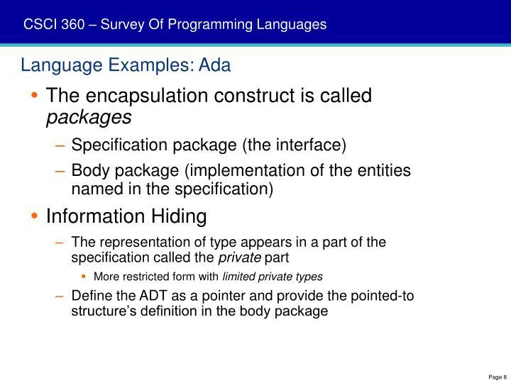 Language Examples: Ada