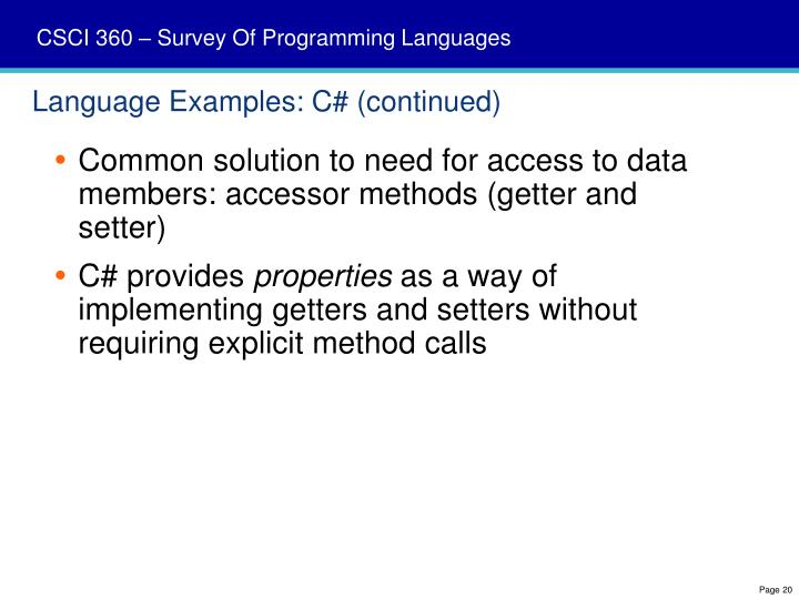 Language Examples: C# (continued)