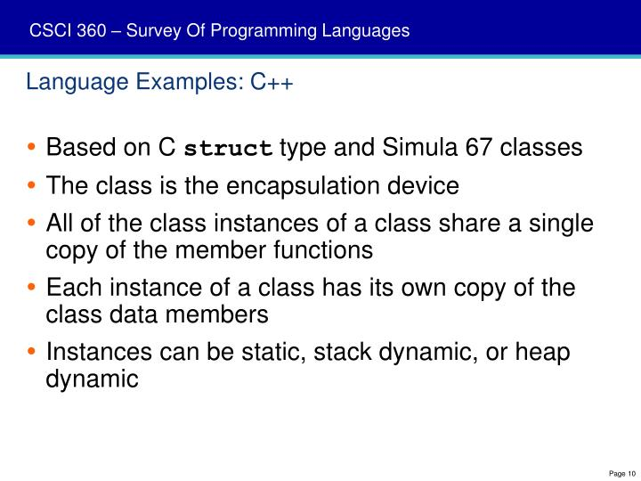 Language Examples: C++