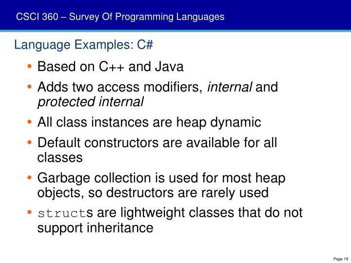 Language Examples: C#
