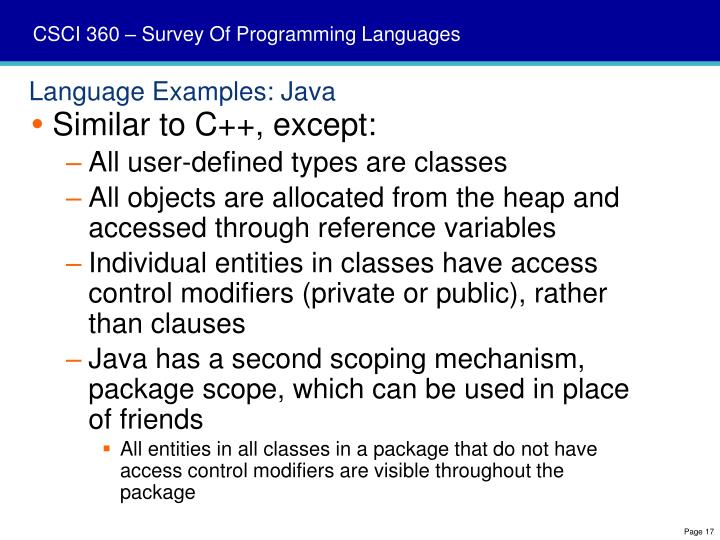 Language Examples: Java