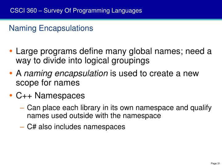 Naming Encapsulations