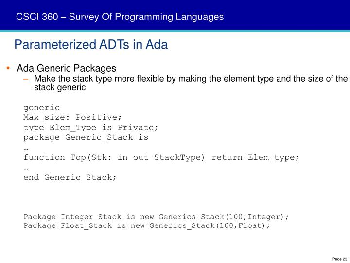 Parameterized ADTs in Ada