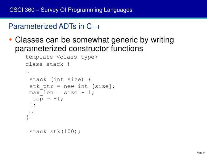 Parameterized ADTs in C++