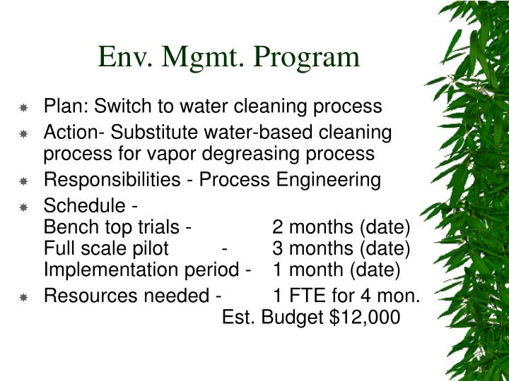 Env. Mgmt. Program