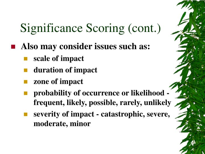 Significance Scoring (cont.)