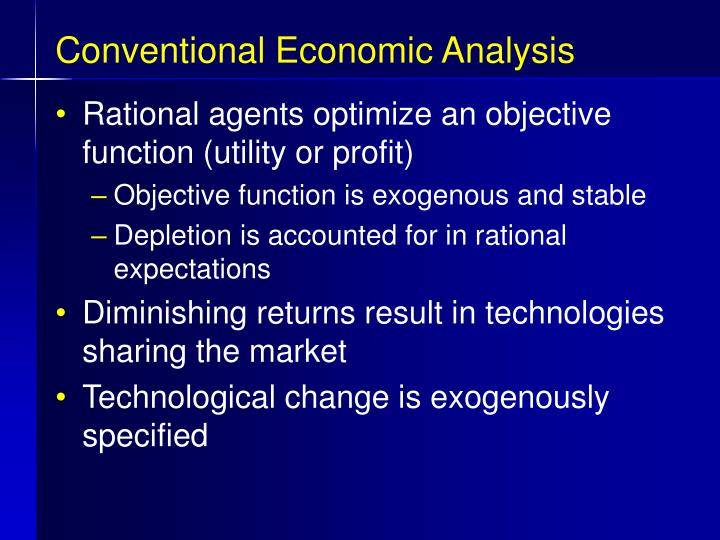 Conventional Economic Analysis