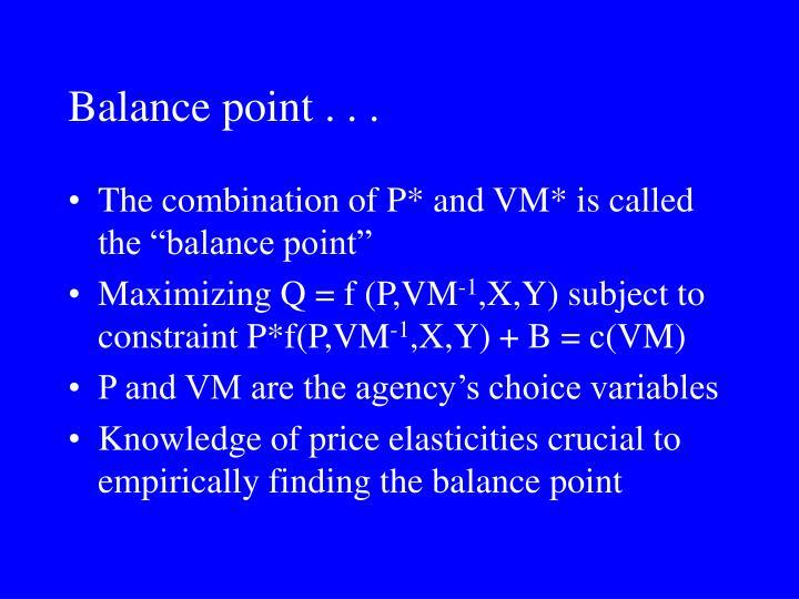 Balance point . . .