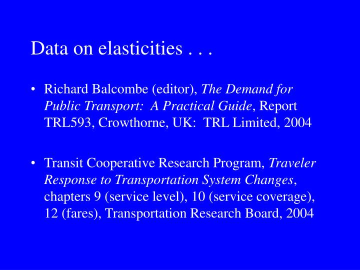 Data on elasticities . . .